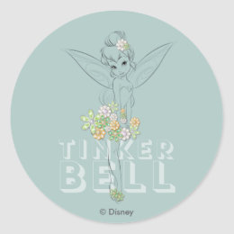 Tinker Bell Sketch With Jewel Flowers Classic Round Sticker