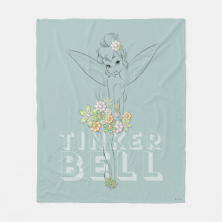 Tinker Bell Sketch With Jewel Flowers Fleece Blanket