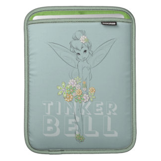 Tinker Bell Sketch With Jewel Flowers iPad Sleeve