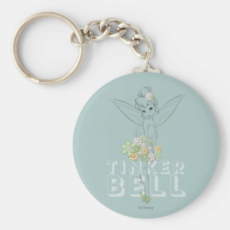 Tinker Bell Sketch With Jewel Flowers Keychain