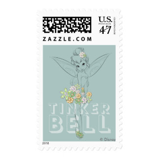 Tinker Bell Sketch With Jewel Flowers Postage