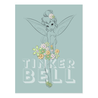 Tinker Bell Sketch With Jewel Flowers Postcard