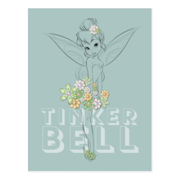 Disney Themed Tinker Bell Sketch With Jewel Flowers Postcard