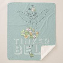 Tinker Bell Sketch With Jewel Flowers Sherpa Blanket