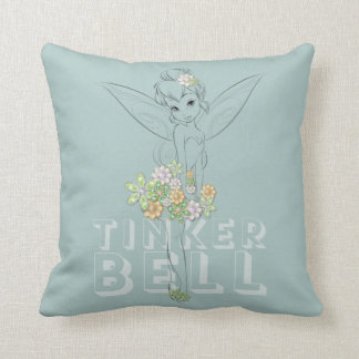 Tinker Bell Sketch With Jewel Flowers Throw Pillow