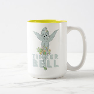 Tinker Bell Sketch With Jewel Flowers Two-Tone Coffee Mug