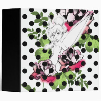 Tinker Bell Sketch With Roses and Polka Dots 3 Ring Binder