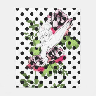 Tinker Bell Sketch With Roses and Polka Dots Fleece Blanket