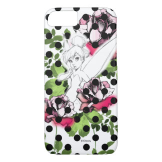 Tinker Bell Sketch With Roses and Polka Dots iPhone 7 Case