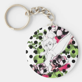 Tinker Bell Sketch With Roses and Polka Dots Keychain