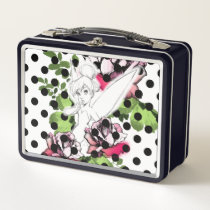 Tinker Bell Sketch With Roses and Polka Dots Metal Lunch Box