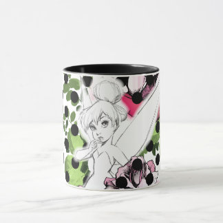 Tinker Bell Sketch With Roses and Polka Dots Mug