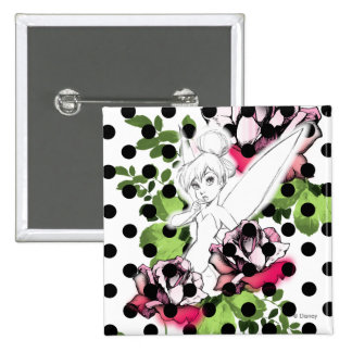 Tinker Bell Sketch With Roses and Polka Dots Pinback Button