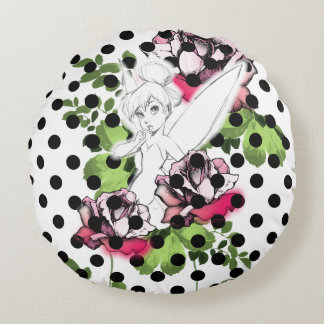 Tinker Bell Sketch With Roses and Polka Dots Round Pillow