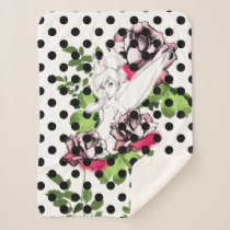 Tinker Bell Sketch With Roses and Polka Dots Sherpa Blanket