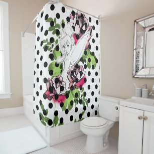 Tinker Bell Sketch With Roses And Polka Dots Shower Curtain