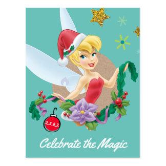 Tinker Bell   Tinker Bell In Santa Hat Postcard