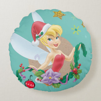 Tinker Bell | Tinker Bell In Santa Hat Round Pillow