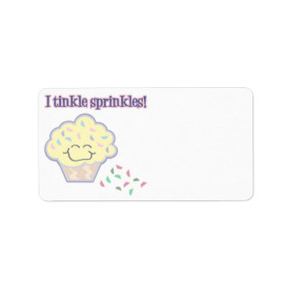tinkle sprinkles funny cupcake label