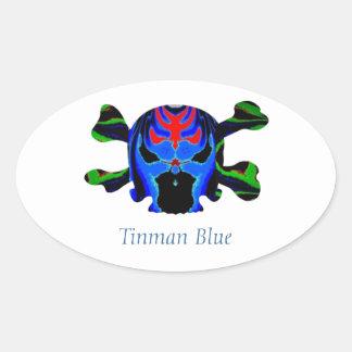 TINMAN BLUE Icon : Amusing Funny Cartoon Oval Sticker