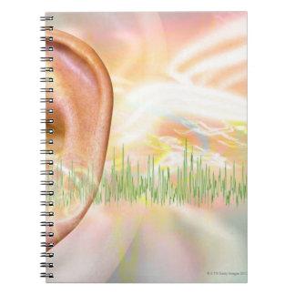 Tinnitus, conceptual computer artwork. spiral notebook