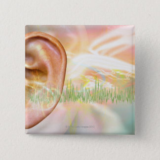 Tinnitus, conceptual computer artwork. pinback button