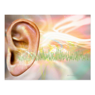 Tinnitus, conceptual computer artwork. postcard
