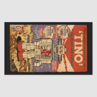 Tino the Heart Operated Toy Robot (Vintage) Rectangular Stickers