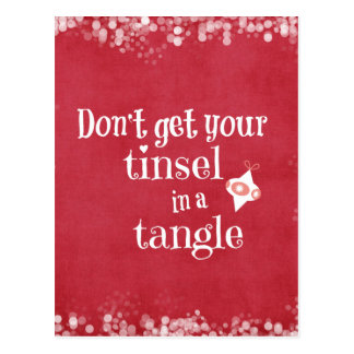 Tinsel in a Tangle Christmas Quote Postcard