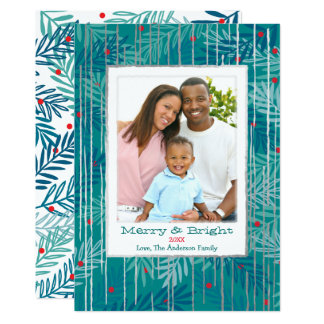 Tinsel on the Tree Christmas Card Blue Green