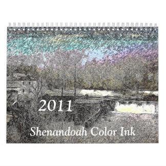 Tinta 2011 del color de Shenandoah Calendario