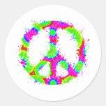Tinta 2 del teñido anudado del símbolo de paz pegatina redonda