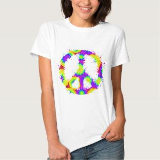 Tinta 3 del teñido anudado del símbolo de paz remera