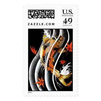 Tinta afortunada del agua de la carpa de Koi del Timbre Postal