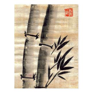 Tinta de bambú en la postal del papiro