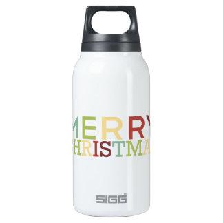 Tinta de la granada - Felices Navidad multicoloras Botella Isotérmica De Agua