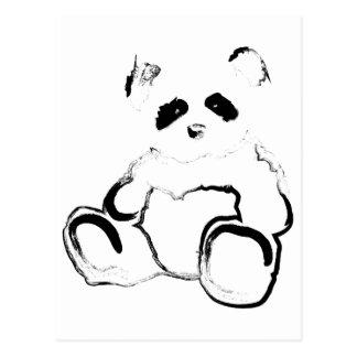 tinta de la panda tarjeta postal