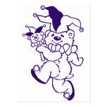 Tinta de la púrpura del bufón del peluche tarjetas postales
