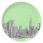 Tinta de Nueva York en verde lima Platos Para Fiestas