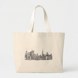 Tinta del horizonte de Nueva York Bolsa Tela Grande