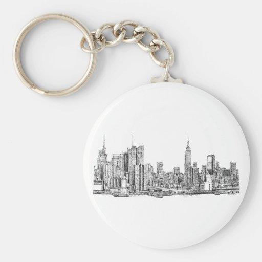 Tinta del horizonte de Nueva York Llavero Redondo Tipo Pin