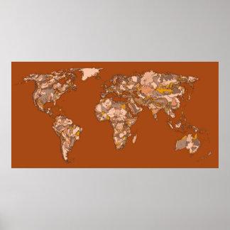 Tinta del mapa del mundo en marrón de la sepia póster