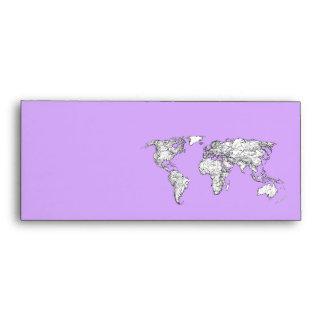 Tinta del mapa del mundo en rosa de la lila sobre