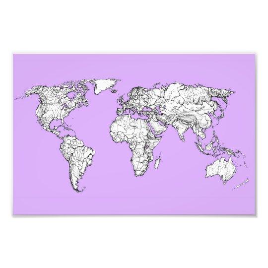 Tinta del mapa del mundo en rosa fotografías