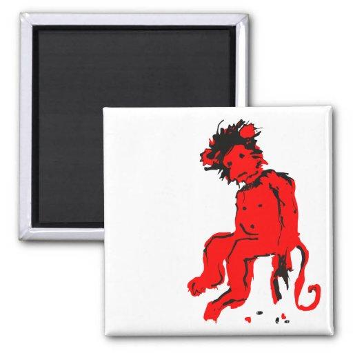 tinta del mono del emo imán de frigorífico