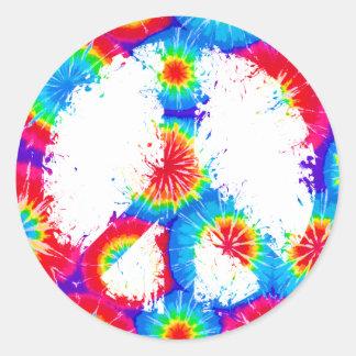 Tinta del teñido anudado del símbolo de paz pegatina redonda