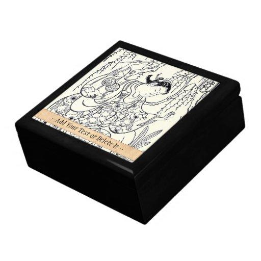 Tinta japonesa de la señora de la belleza del bail cajas de recuerdo