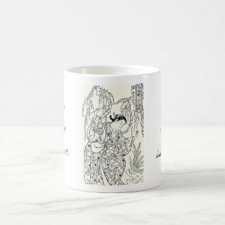 Tinta japonesa de la señora de la belleza del bail tazas de café