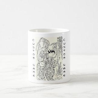 Tinta japonesa de la señora de la belleza del bail taza de café