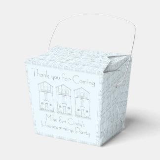 Tinta minúscula de la casa que dibuja estreno de cajas para detalles de boda